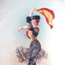 Coleccionismo de carteles: TIPO POSTAL 1910, MUJER VESTIDA DE FLAMENCO IZANDO LA BANDERA DE ESPAÑA CON ESCUDO REAL. 20 X 15 CTS. Lote 27334056