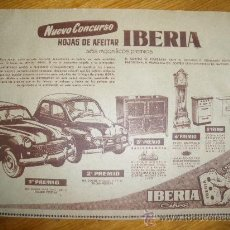 Coleccionismo de carteles: PUBLICIDAD DEL CONCURSO DE HOJAS DE AFEITAR IBERIA.. Lote 15378095