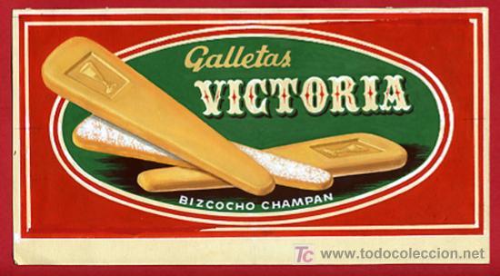CARTEL PUBLICIDAD GALLETAS VICTORIA ,ALMENDRADOS ,ORIGINAL PINTADO A MANO (Coleccionismo - Carteles Pequeño Formato)
