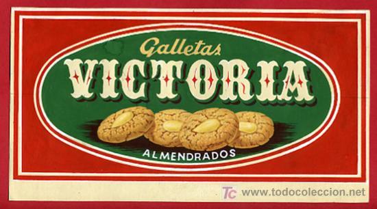 CARTEL PUBLICIDAD GALLETAS VICTORIA ,BARCELONA , BIZCOCHOS ,ORIGINAL PINTADO A MANO (Coleccionismo - Carteles Pequeño Formato)
