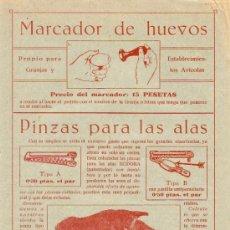 Coleccionismo de carteles: PUBLICIDAD MARCADOR DE HUEVOS Y PINZAS PARA LAS ALAS - AÑOS 20 - L. ALONSO BELLVER - VALENCIA. Lote 17484979
