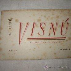 Coleccionismo de carteles: TARJETA PUBLICITARIA VISNU PRODUCTOS DE PERFUMERIA GIJON-MADRID. Lote 17747354