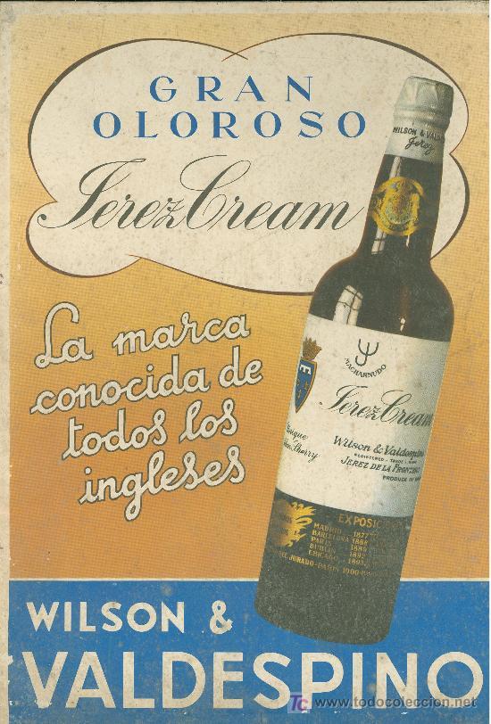 DISPLAY PUBLICITARIO DE PIE. WILSON & VALDESPINO. GRAN OLOROSO. JEREZ CREAM. (Coleccionismo - Carteles Pequeño Formato)