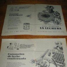 Coleccionismo de carteles: PUBLICIDAD DE LA LECHERA. LOTE. 10 HOJAS.. Lote 22847360