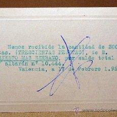 Coleccionismo de carteles: NOTA, RECIBI, 1955, RELOJES, MONTBLANC, VALENCIA. Lote 22365117