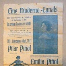 Coleccionismo de carteles: CARTEL PROGRAMA, CINE MODERNO CANALS, PILAR PIÑOL, EMILIA PIÑOL, RAMON PORTA, PURA NEGRI, 1928.. Lote 22624592