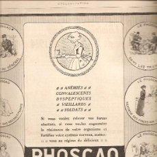 Coleccionismo de carteles: 80. 16 DE ENERO DE 1915: ANUNCIO DE PHOSCAO. Lote 27406464
