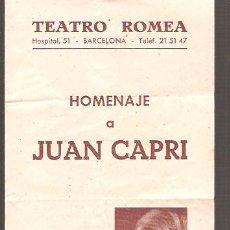 Coleccionismo de carteles: FOLLETO TEATRO ROMEA * HOMENAJE A JOAN CAPRI * DIPTICO 1958. Lote 27676638