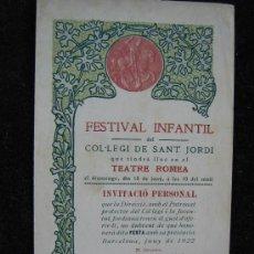 Coleccionismo de carteles: CARTEL FESTA HOMENATGE COL-LEGI DE SANT JORDI QUE LA JOVENTUT JORDIANA NOCES D'ARGENT 1923 VER FOTOS. Lote 28134901