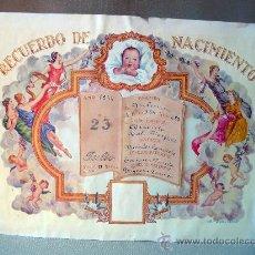 Coleccionismo de carteles: PARTIDA, RECUERDO DE NACIMIENTO, 1944, VALENCIA, HERNANDEZ DOCE, 32X26 CM. Lote 28666816