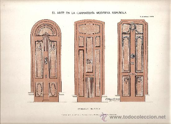 LAMINA CARPINTERIA EPOCA MODERNISTA (ART-NOUVEAU) (Coleccionismo - Carteles Pequeño Formato)