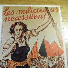 Coleccionismo de carteles: LES MILICIES US NECESSITEM - CARTEL GUERRA CIVIL . Lote 29335970