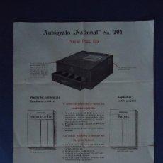 Coleccionismo de carteles: PUBLICIDAD.CAJAS REGISTRADORAS. AUTOGRAFO 'NATIONAL' PRINCIPIOS SIGLO XX. 31X24,5CM.. Lote 29793288