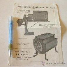 Coleccionismo de carteles: FOLLETO PUBLICITARIO DE MONTADORA BATIDORA DE NATA - AÑOS 50 BARCELONA. Lote 30560889