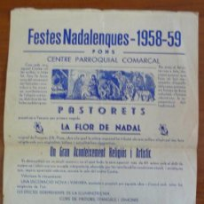 Coleccionismo de carteles: CARTELL DE LES FESTES NADALENQUES 1958-59 DE PONS (LLEIDA). CENTRE PARROQUIAL COMARCAL.. Lote 30686498