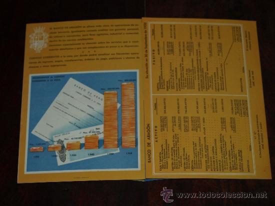 Coleccionismo de carteles: FOLLETO PUBLICIDAD E INFORMACION BANCO DE ARAGON. CAJA DE AHORROS. SITUACION A 30 SEPTIEMBRE 1955. - Foto 2 - 30718604