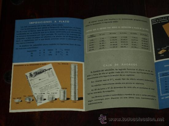 Coleccionismo de carteles: FOLLETO PUBLICIDAD E INFORMACION BANCO DE ARAGON. CAJA DE AHORROS. SITUACION A 30 SEPTIEMBRE 1955. - Foto 3 - 30718604