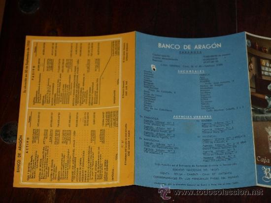 Coleccionismo de carteles: FOLLETO PUBLICIDAD E INFORMACION BANCO DE ARAGON. CAJA DE AHORROS. SITUACION A 30 SEPTIEMBRE 1955. - Foto 5 - 30718604