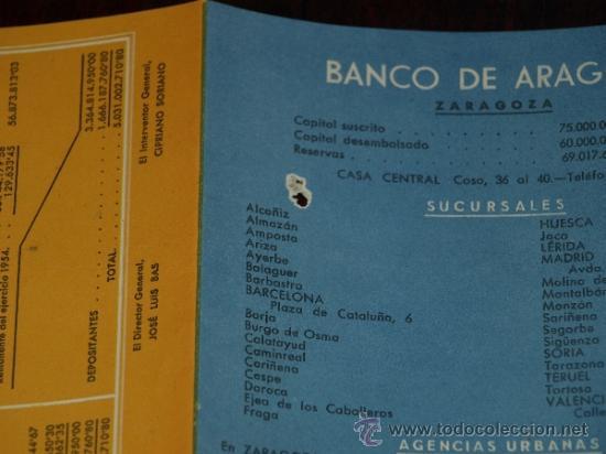 Coleccionismo de carteles: FOLLETO PUBLICIDAD E INFORMACION BANCO DE ARAGON. CAJA DE AHORROS. SITUACION A 30 SEPTIEMBRE 1955. - Foto 7 - 30718604