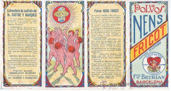 CARTEL DE PUBLICIDAD POLVOS NENS FRICOT - DE FRANCISCO BETRIAN DE BARCELONA -LABORATOROP DR.SASTRE (Coleccionismo - Carteles Pequeño Formato)