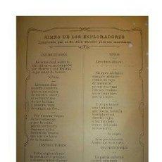 Coleccionismo de carteles: ANTIGUO HIMNO DE LOS EXPLORADORES Y DE LOS EXPLORADORES MURCIANOS. SCOUTS. MURCIA.. Lote 32087472