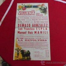 Coleccionismo de carteles: CARTEL DE TOROS VILLENA ALICANTE FIESTAS 7 SEPTIEMBRE 1978 DAMASO , ESPLA Y MANILI . Lote 32139773