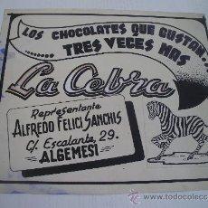 Collectionnisme d'affiches: BOCETO ORIGINAL PARA CARTEL DE CHOCOLATES LA CEBRA - REPRESENTANTE EN ALGEMESI - VALENCIA - AÑOS 50. Lote 32180142
