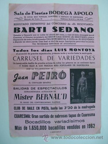 SALA DE FIESTAS BODEGA APOLO. BARCELONA 1963 (Coleccionismo - Carteles Pequeño Formato)