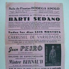 Coleccionismo de carteles: SALA DE FIESTAS BODEGA APOLO. BARCELONA 1963. Lote 32281666