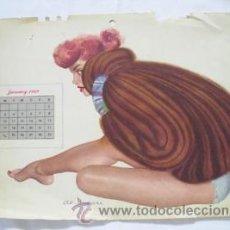 Coleccionismo de carteles: POSTER : PIN - UP ENERO 1949. DISEÑO AL MOORE. CALENDARIO ESQUIRE GIRL. Lote 32487194