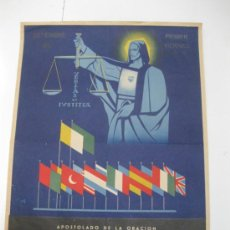 Collectionnisme d'affiches: APOSTOLADO DE LA ORACION.SEPTIEMBRE 1957.54.50 CM X 40 CM.. Lote 35596719