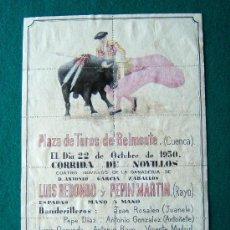 Coleccionismo de carteles: PLAZA DE TOROS DE BELMONTE (CUENCA) - ESPADAS : LUIS REDONDO Y PEPIN MARTIN - CARTEL - 1950 . Lote 35730342