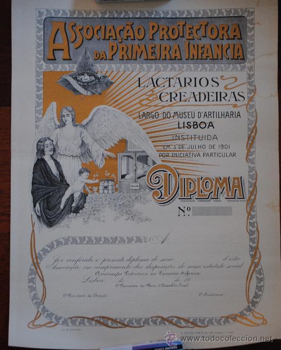 DIPLOMA ASSOCIACAO PROTECTORA DA PRIMEIRA INFANCIA. LISBOA. SIN USAR. 45X34CM (Coleccionismo - Carteles Pequeño Formato)