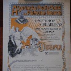 Coleccionismo de carteles: DIPLOMA ASSOCIACAO PROTECTORA DA PRIMEIRA INFANCIA. LISBOA. SIN USAR. 45X34CM. Lote 35790470