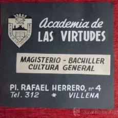 Coleccionismo de carteles: CLICHE ORIGINAL DE ACADEMIA LAS VIRTUDES VILLENA 1959 SECOTE C-4. Lote 36043446