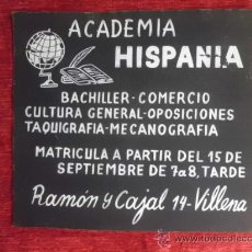 Coleccionismo de carteles: CLICHE ORIGINAL ACADEMIA HISPANIA, VILLENA 1959, SECOTE C-13. Lote 36082600