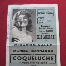 Coleccionismo de carteles: PROGRAMA O CARTEL DE MANO DE LA COMPAÑIA DE COMEDIAS SALBERT - TEATRO ALVAREZ QUINTERO - SEVILLA . Lote 36226414