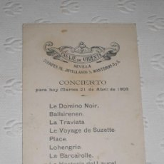 Coleccionismo de carteles: PUBLICIDAD DEL PASAJE DE ORIENTE DE SEVILLA. ITINERARIO DE CONCIERTO. 1908. RICHARD WAGNER.. Lote 37256242