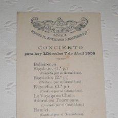 Coleccionismo de carteles: PUBLICIDAD DEL PASAJE DE ORIENTE DE SEVILLA. ITINERARIO DE CONCIERTO. 1909. ROBERT SCHUMANN.. Lote 37256350