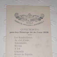 Coleccionismo de carteles: PUBLICIDAD DEL PASAJE DE ORIENTE DE SEVILLA. ITINERARIO DE CONCIERTO. 1908. CHARLES FRANÇOIS GOUNOD.. Lote 49324799