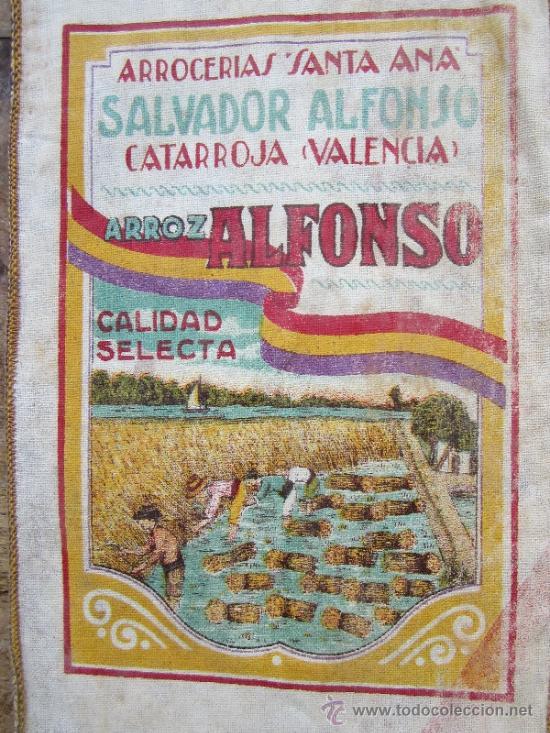 SAQUITO ARROZ ALFONSO , ARROCERIAS SANTA ANA , CATARROJA - VALENCIA , BANDERA REPUBLICA ESPAÑOLA (Coleccionismo - Carteles Pequeño Formato)