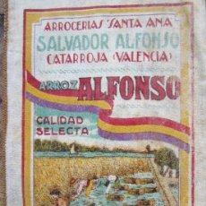 Coleccionismo de carteles: SAQUITO ARROZ ALFONSO , ARROCERIAS SANTA ANA , CATARROJA - VALENCIA , BANDERA REPUBLICA ESPAÑOLA . Lote 40400008