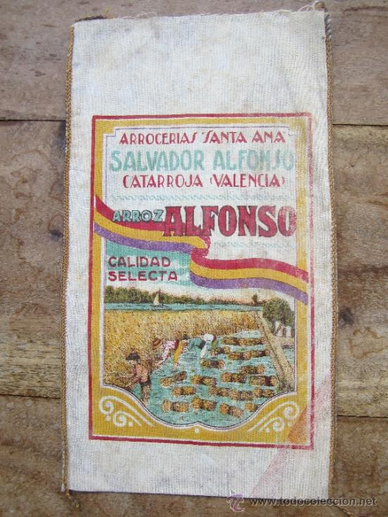 Coleccionismo de carteles: saquito arroz alfonso , arrocerias santa ana , catarroja - valencia , bandera republica española - Foto 2 - 121137418