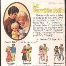 Coleccionismo de carteles: ANUNCIO * MUÑECOS LA FAMILIA FELIZ . CONGOST *. Lote 37379146