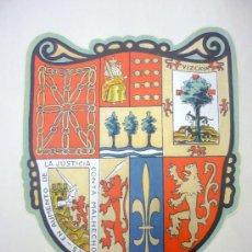 Coleccionismo de carteles: LÁMINA ESCUDO DE LAS SIETE PROVINCIAS VASCAS - ZAZPIAK -LAS SIETE UNA- AÑOS 30. Lote 72611691