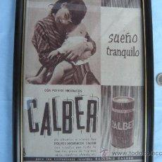 Coleccionismo de carteles: PUBLICIDAD POLVOS CALBER ENMARCADA. Lote 38348830