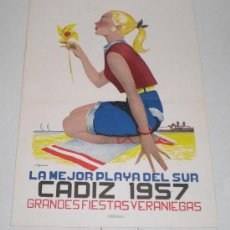 Coleccionismo de carteles: GRANDES FIESTAS VERANIEGAS, LA MEJOR PLAYA DEL SUR - CADIZ 1957 (PROGRAMA DE FESTEJOS). Lote 38241948