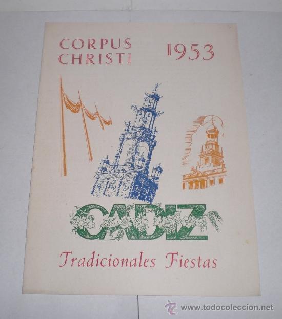 CORPUS CHRISTI, CADIZ - 1953 (TRADICIONALES FIESTAS) (Coleccionismo - Carteles Pequeño Formato)