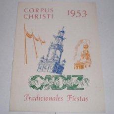 Coleccionismo de carteles: CORPUS CHRISTI, CADIZ - 1953 (TRADICIONALES FIESTAS). Lote 38348894