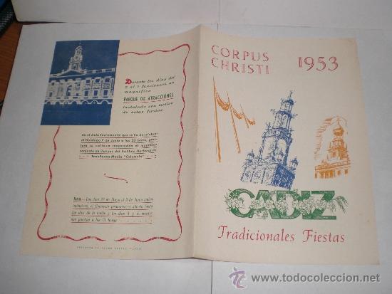 Coleccionismo de carteles: Corpus Christi, Cadiz - 1953 (Tradicionales Fiestas) - Foto 3 - 38348894